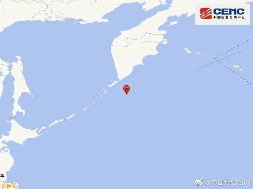 发生7.5级地震的千岛群岛位置。