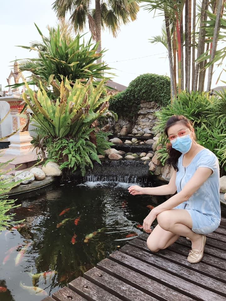 张慧仪家中的庭园有假山鱼池。
