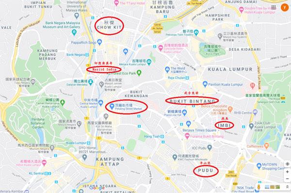 吉隆坡市中心内外劳聚集的部分地点(红圈)。