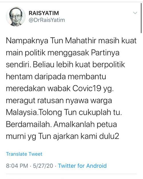 莱士雅丁在推特帖文狠批马哈迪只顾玩弄政治。