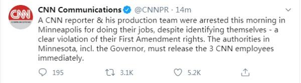 CNN随后在推特发表声明,要求警方放人。