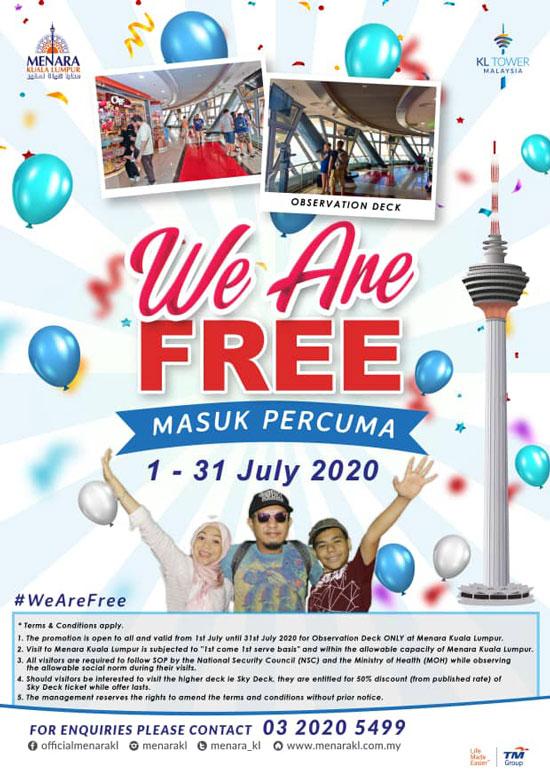 吉隆坡塔邀您于7月份免费参观观景台!