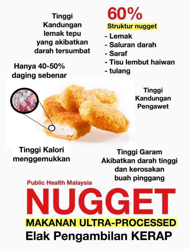 """面子书专页""""大马公共卫生""""(Public Health Malaysia)贴文,提醒大家少吃鸡肉块。"""