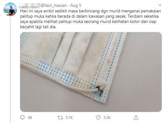 法兹里在推特贴文说,其学生因家境穷困,即使使用的一次性的口罩已经肮脏和口罩绳断了,还是需重新缝上后继续使用。