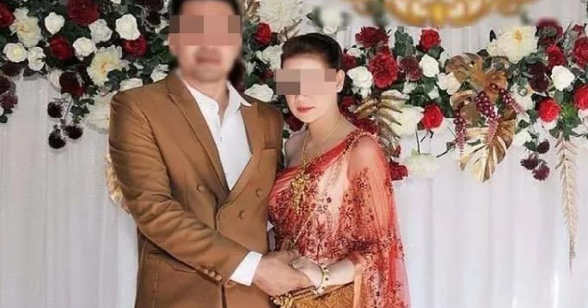 女死者与丈夫的结婚照片。