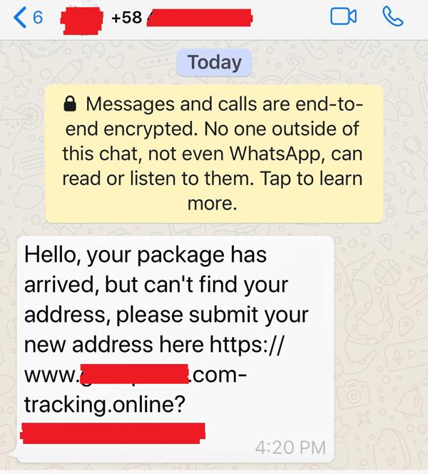不少民众近日收到疑是不法集团的信息,企图诱导公众提供本身地址资料。