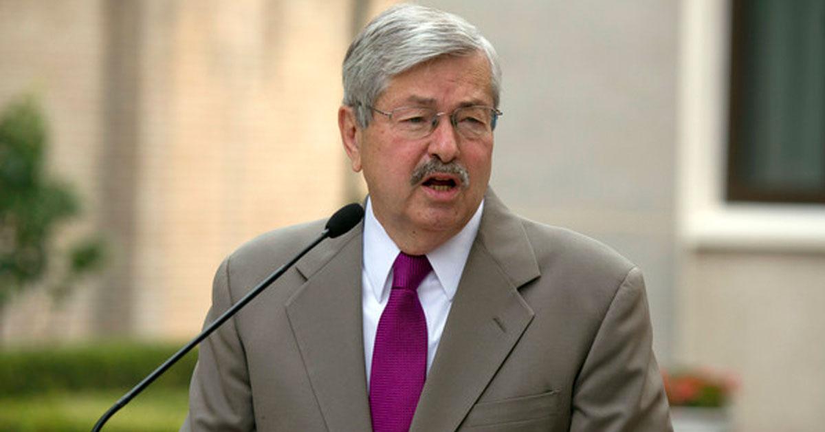 即将离任的美国驻中国大使布兰斯塔德。