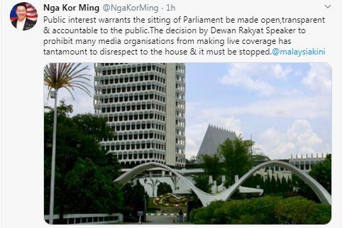 倪可敏连发推文要求下议院议长重新检讨限制媒体采访的决定。