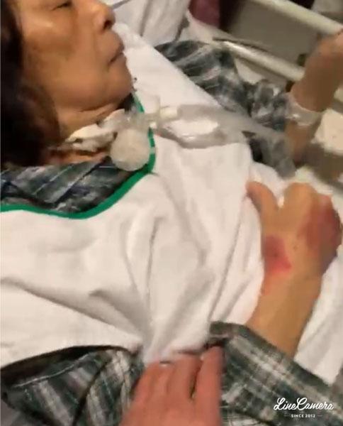 林立洋母亲躺在香港伊利沙伯医院十分虚弱。林立洋提供