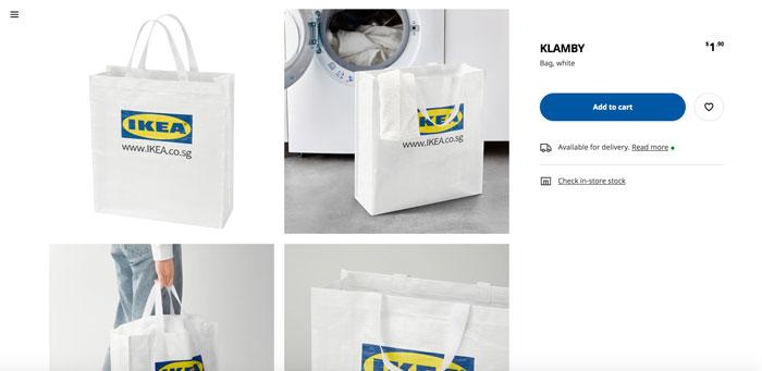 """新加坡宜家官网张贴的""""KLAMBY""""环保袋。"""