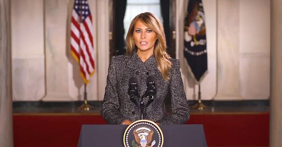 美国第一夫人梅拉妮亚,透过社群媒体发表告别影片。