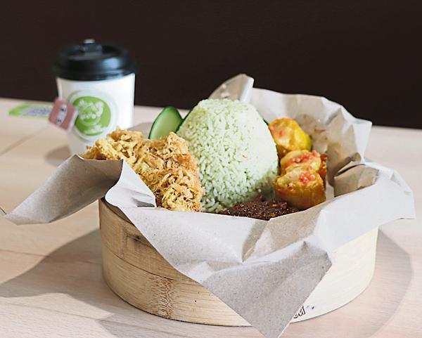 Jom Dim Sum推出香兰叶饭配上参巴酱,让市民有更多选择。