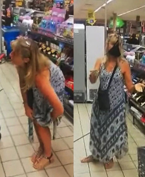 女子日前在超市因未戴口罩被警卫劝说,一气之下就脱下长裙里的丁字裤并把它套在脸上。