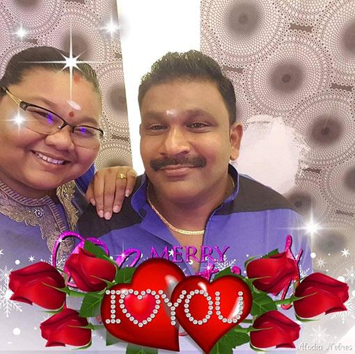 李班妮和印裔丈夫生前的合照。
