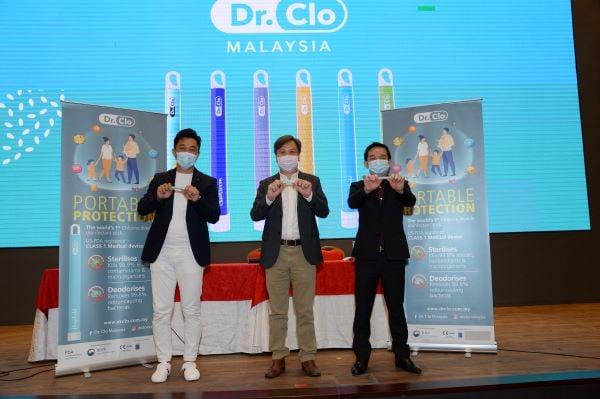 Clotech有限公司独家经销商钟富荣(左起)、Clotech有限公司董事黄立豪及Clotech总营运长陈高升为Dr.Clo主持推介。