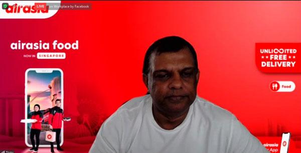 东尼费南德斯airasia food进入新加坡市场主持线上推介礼。