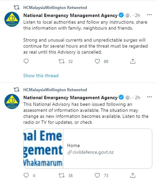 大马驻纽西兰最高专员署奉劝国人遵从地方当局指示。