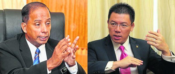 古拉(左)团队在霹州行动党党选,向倪可敏团队发出冲击。