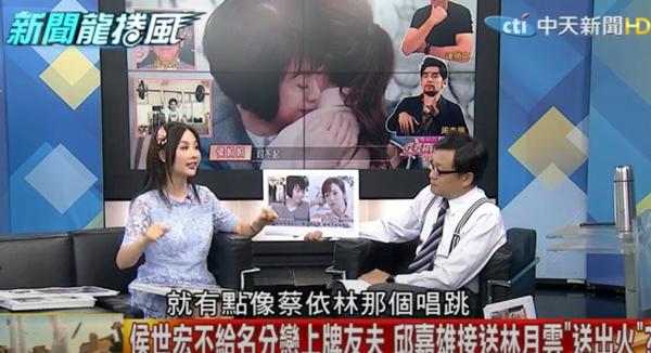 名嘴许圣梅(左)爆侯佩岑在中国的知名度。