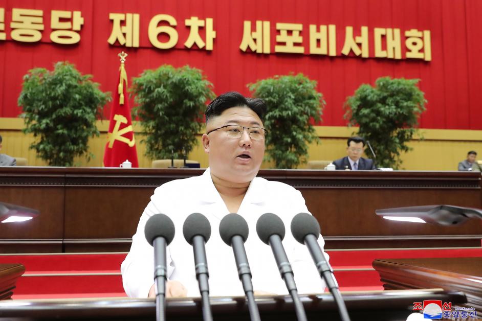 朝鲜最高领导人金正恩6日在劳动党第六次支部书记大会上发言。(欧新社)
