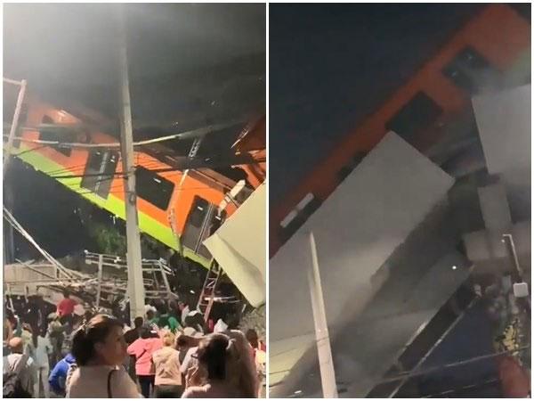 墨西哥高架桥崩塌,行驶中列车直接坠地。