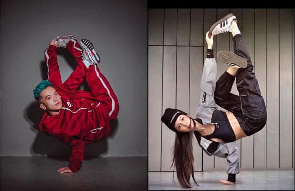 李元玲(右图)挑战高难度地板动作,引起不少争议,当中大师级舞蹈员岑志力(左图)就亲自示范airchair的正确姿势。