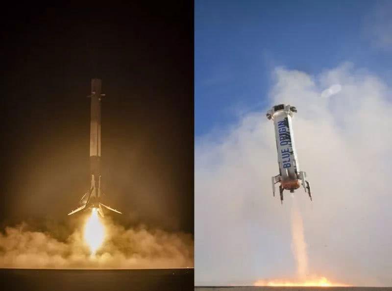 """太空探索技术公司的""""猎鹰9号""""(左图),和蓝源的""""新谢泼德""""火箭档案照。"""