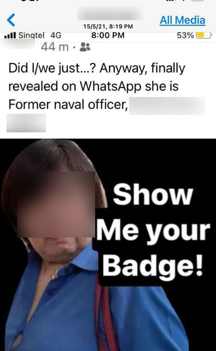 妇女遭人踢爆是新加坡海军首个指挥战舰的女军官。