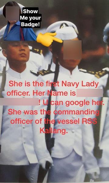 妇女年轻时身穿新加坡海军制服。