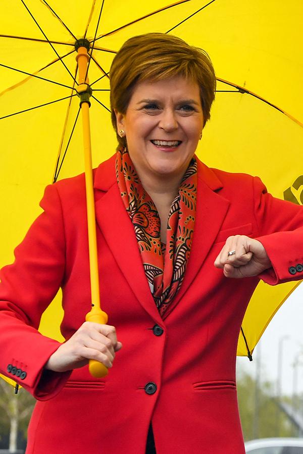 民族党党魁兼苏格兰首席部长施特金,公开表态将推动独立公投。(法新社)