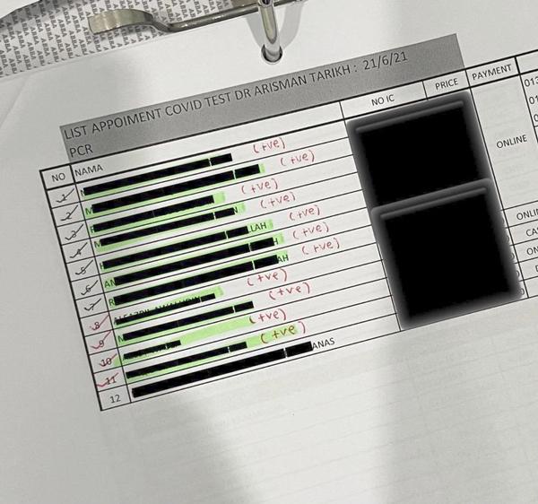 阿利斯曼医生上载12人的冠病检测结果,其中除了1人检测还未出炉之外,其他11人全数确诊。