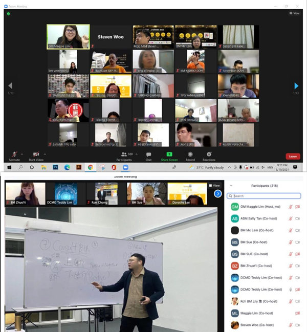 桥格透过线上教学及说明会,为来自全马各地新旧策划师讲解ERS计划及新职员营运策略。