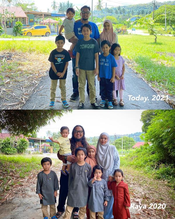 纳兹里阿末(后排左2)在面子书贴上两张在相同地点全家合拍的照片,思念已离世的妻子。