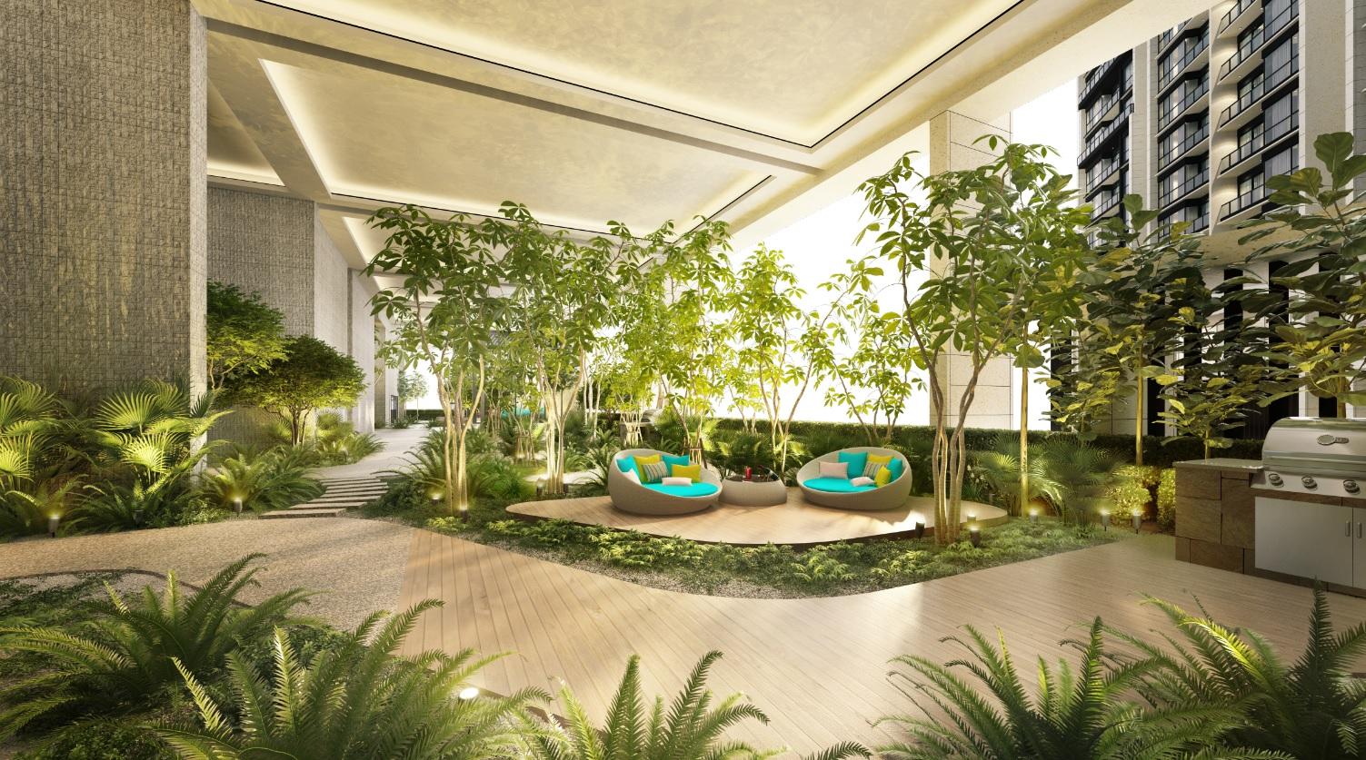 通过景观美化搭配时尚设施,让住户体验更健康的生活方式 。