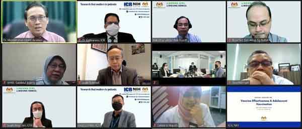 卡莱拉苏(第一排左2)在媒体简报会上解释疫苗有效性;左上角起为希山沙和聂凯鲁丁。