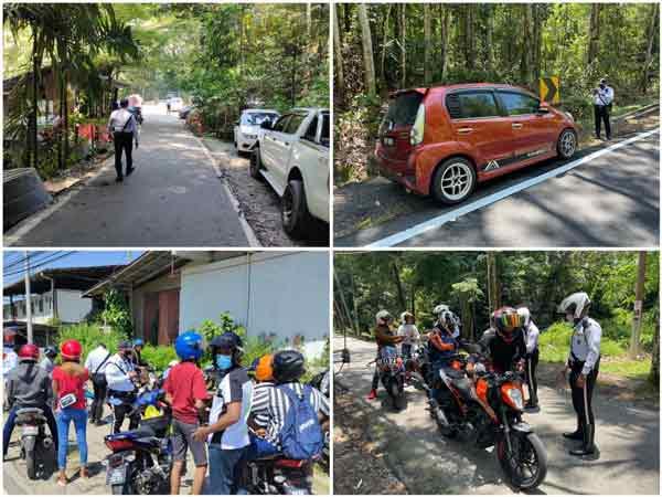 警方向到场的违规游客开出罚单。