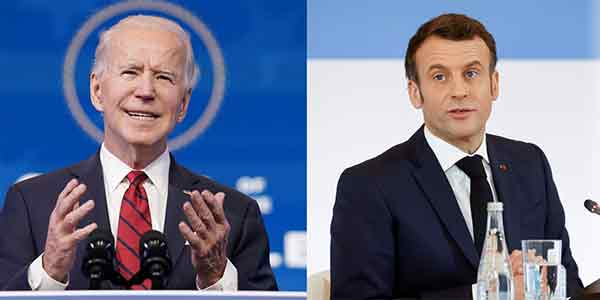 美国总统拜登(左)与法国总统马克龙22日通电,两人同意10月底于欧洲会晤化解龃龉。
