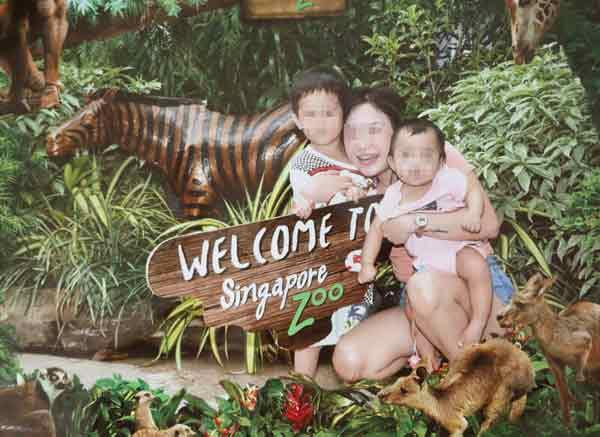林佩思之前带着两个孩子上动物园的合照。(受访者提供)